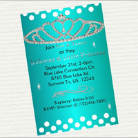 Teal & Silver Princess Baby Shower Invite