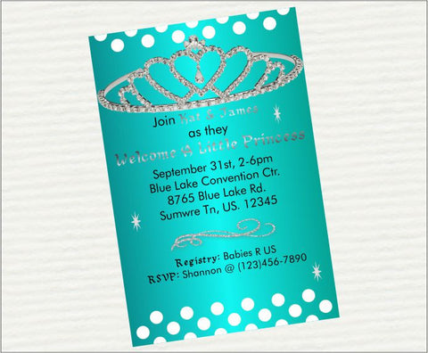 Turquoise Princess Digital Baby Shower Invitations