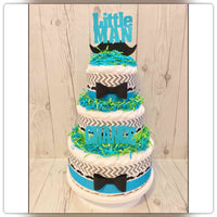 Blue & Green Little Man Baby Shower Diaper Cake