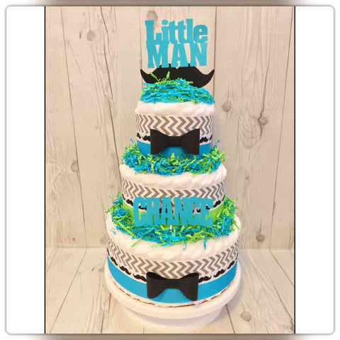Turquoise and Green Little Man Diaper Cake Centerpiece