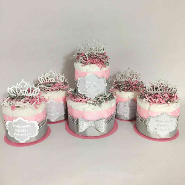Pink & Silver Princess Diaper Cake Set