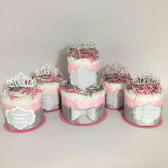 Welcome Little Princess 5 Piece Diaper Cake Centerpiece Set - Pink and Silver