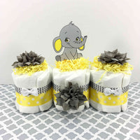 Yellow & Gray Elephant Diaper Cake Set