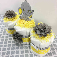 Yellow and Gray Baby Elephant Diaper Cake Centerpiece
