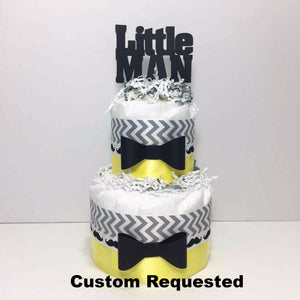Yellow, Gray, & Black Little Man Diaper Cake Centerpiece