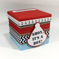 Ahoy, It's a Boy Nautical Diaper Raffle Ticket Box