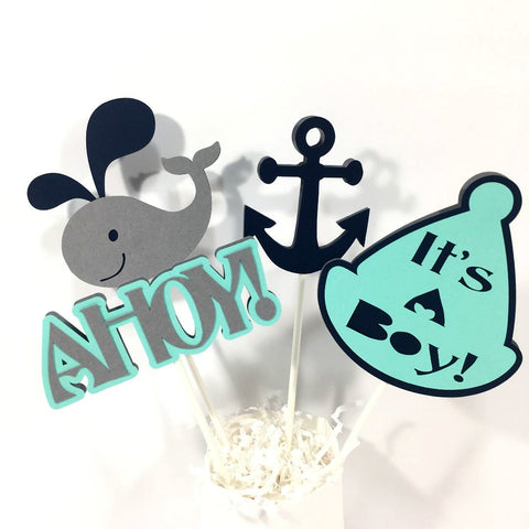 Nautical & Whale Centerpiece Sticks- Navy, Aqua, & Gray