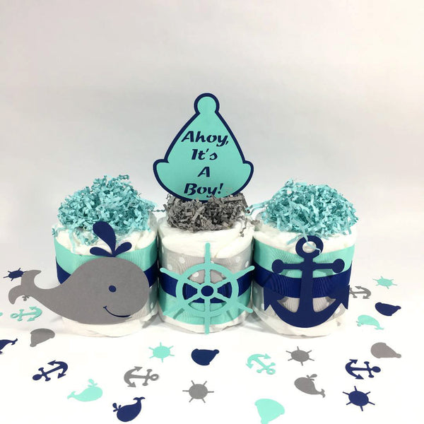 Navy, Aqua, & Gray Ahoy It's a Boy Mini Diaper Cake Set