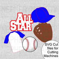 All Star Baseball SVG Cutting File