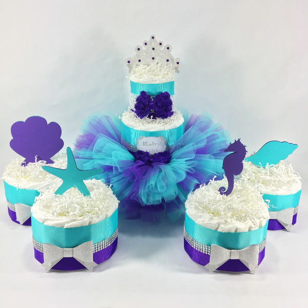 Purple, Teal, & Silver Mermaid Tutu Diaper Cake Set