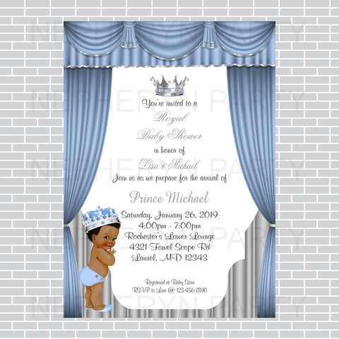 Little Prince Invitation - Baby Blue, Silver