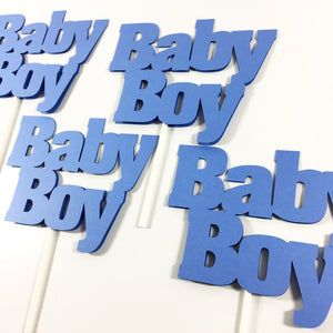 Blue Baby Boy Baby Shower Cake Toppers