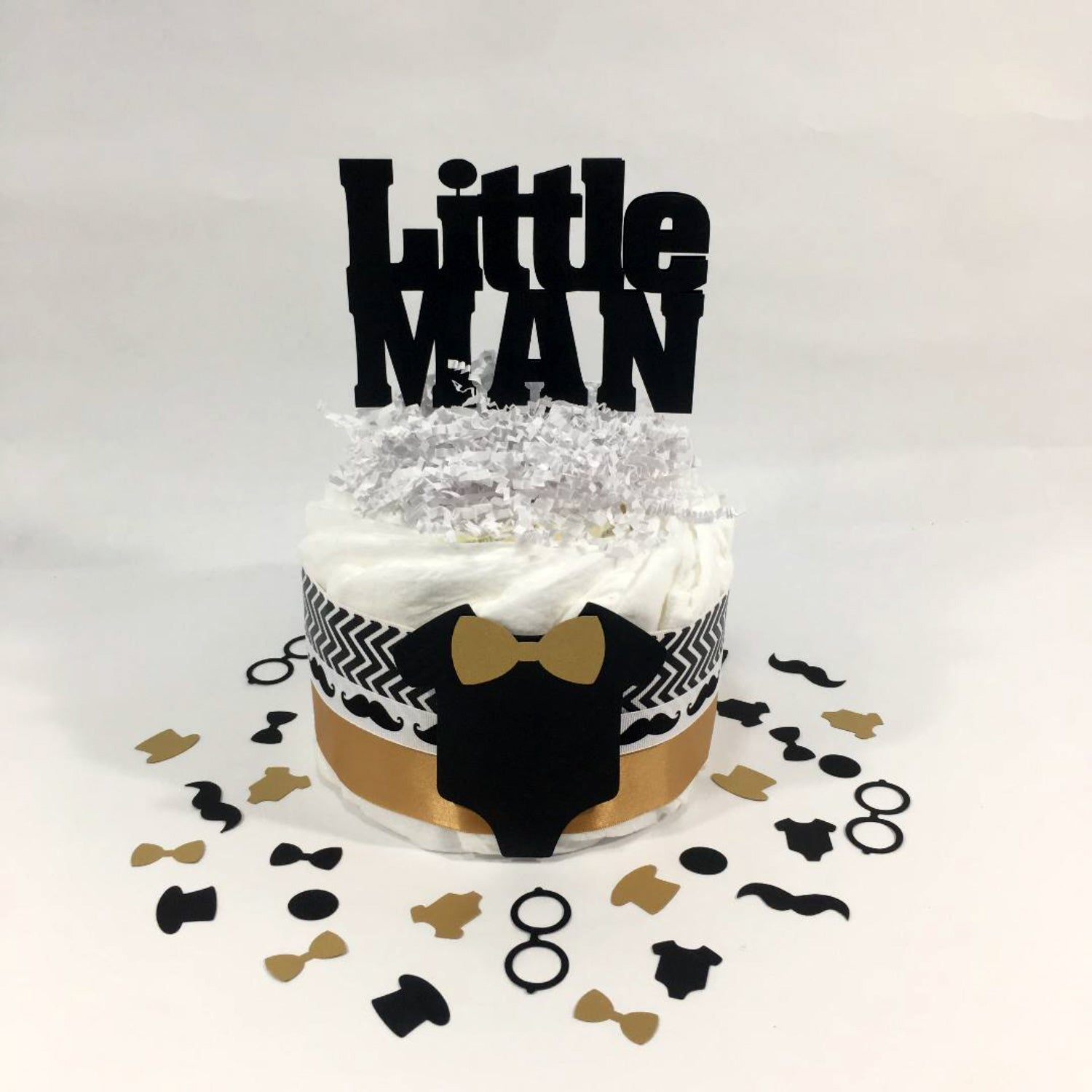 Little Man 1-Tier Diaper Cake - Black, Gold