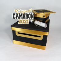 Black & Gold 2021 Graduation Card Box