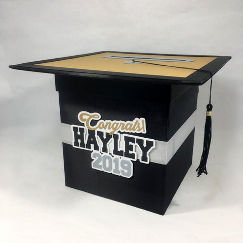 Graduation Party Card Box - Black, Gold, Silver