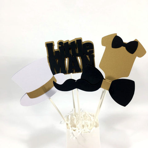 Little Man Centerpiece Sticks - Black, Gold