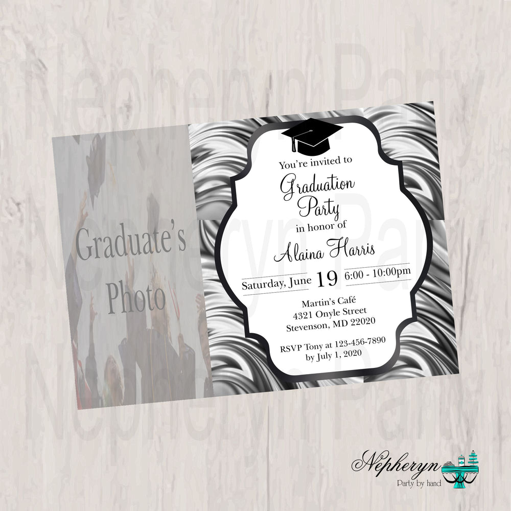 Black and Gray Graduation Party Invite