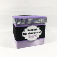 Purple, Black, & Silver Dance Raffle Ticket Box