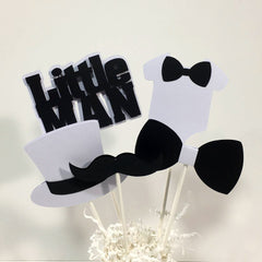 Little Man Centerpiece Sticks - Black, White