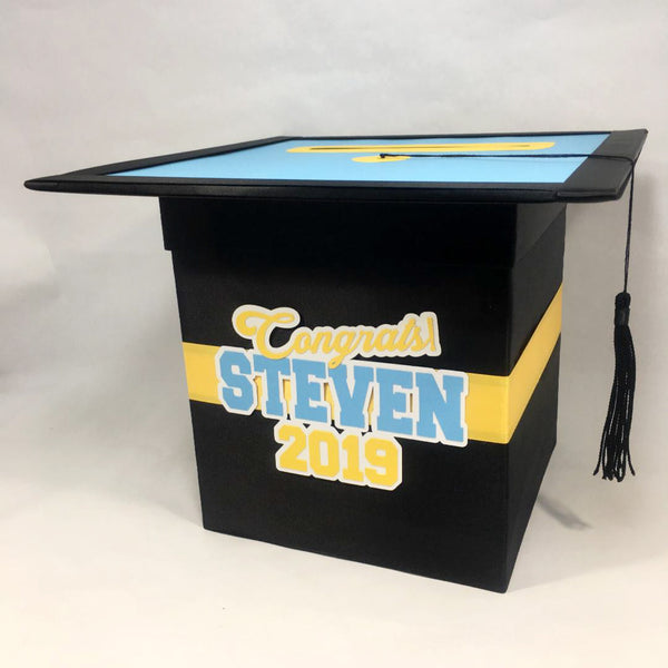 Light Blue, Yellow, & Black Graduation Card Box
