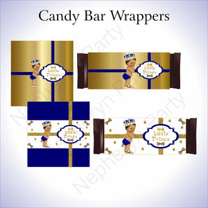 Royal Blue & Gold Little Prince Candy Bar Wrappers, Brown