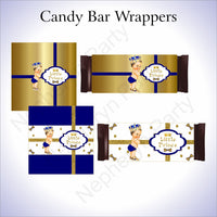 Royal Blue & Gold Little Prince Candy Bar Wrappers, Brunette