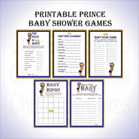 Royal Blue & Gold Little Prince Baby Shower Games