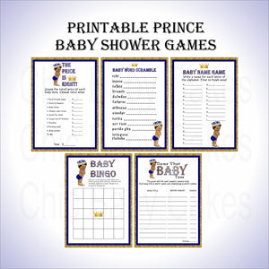 Royal Blue & Gold Prince Baby Shower Games