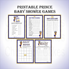 Little Prince Baby Shower Game Pack - Blue, Gold