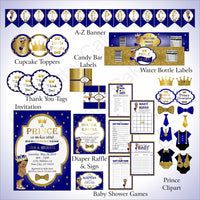 Royal Blue & Gold Little Prince Baby Shower Decoration Pack
