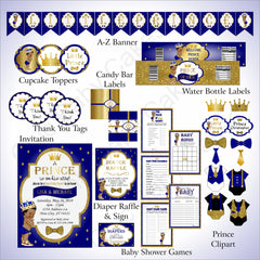 Prince Baby Shower Decoration Pack - Blue, Gold