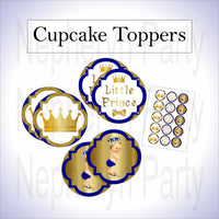 Royal Blue & Gold Prince Cupcake Toppers, Blonde