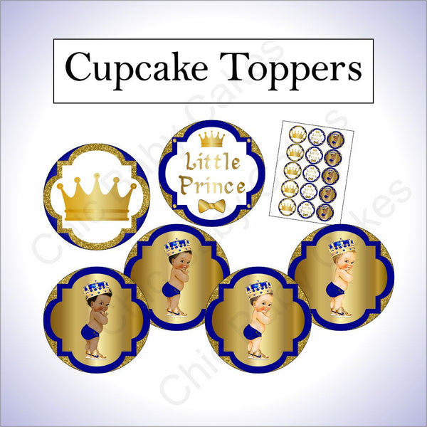 Royal Blue & Gold Prince Cupcake Toppers