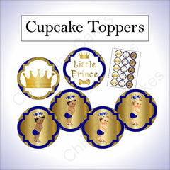 Royal Blue and Gold Little Prince Printable Cupcake Toppers