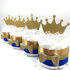 Little Prince Mini Diaper Cakes - Blue, Gold