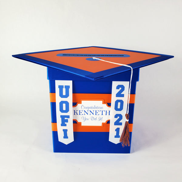 Royal Blue & Orange College Graduation Card Box