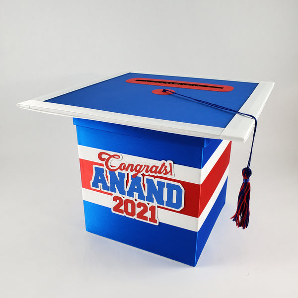 Royal Blue, Red, & White Graduation Card Box
