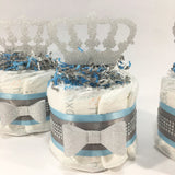 Blue & Silver Prince Mini Diaper Cake Set