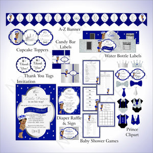 Royal Blue & Silver Little Prince Baby Shower Decoration Pack