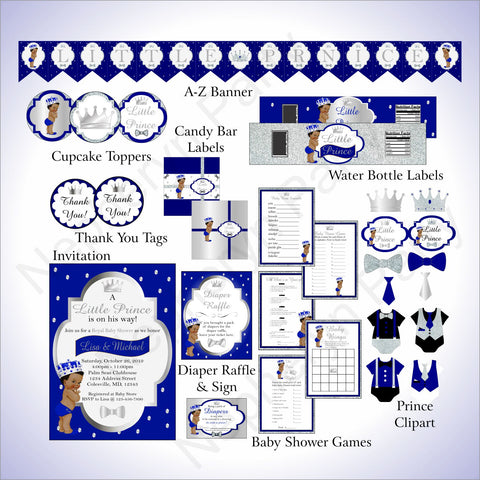 Prince Baby Shower Decoration Pack - Blue, Silver
