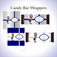 Royal Blue & Silver Little Prince Baby Shower Candy Bar Wrappers