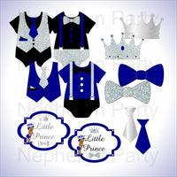 Royal Blue & Silver Little Prince Baby Shower Diaper Cake Clipart
