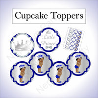 Royal Blue & Silver Little Prince Baby Shower Cupcake Toppers