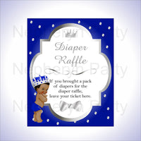 Royal Blue & Silver Little Prince Baby Shower Diaper Raffle Sign