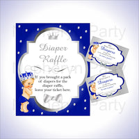 Royal Blue & Silver Prince Diaper Raffle Set, Blonde