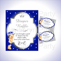 Royal Blue & Silver Prince Diaper Raffle Set, Brunette