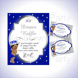 Royal Blue & Silver Prince Diaper Raffle Set, Curly