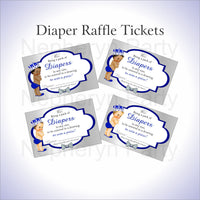 Royal Blue & Silver Little Prince Baby Shower Diaper Raffle Tickets