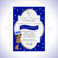 Royal Blue & Silver Little Prince Baby Shower Invite