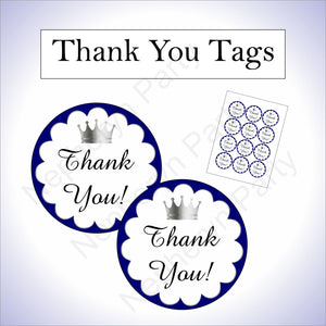 Royal Blue & Silver Little Prince Baby Shower Thank You Tags